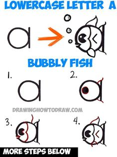 How to Draw a Cute Cartoon Fish from a Lowercase Letter a Shape with Easy Step by Step Drawing Lesson for Kids