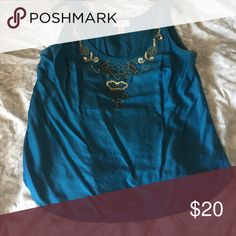 LOFT blue shell with sequins Worn twice LOFT Tops Blouses