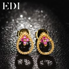 8e6198ac8f47 EDI Women Genuine Natural Ruby Stud Earrings For Soild 14K 585 Yellow Gold  Fashion Earrings Fine