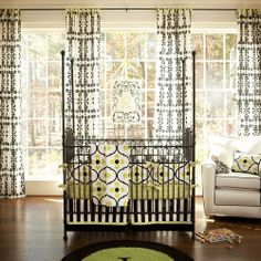 Logan Black and Lime Crib Bedding | Black and White Crib Bedding with Green Accents | Carousel Designs 500x500 image