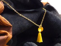 Tassel pendant necklace with gold plated charm by artstudio88