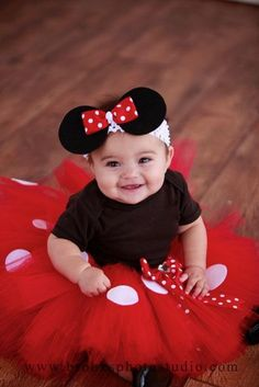 Minnie Mouse Tutu Baby Tutu and puff headband by ChicSomethings