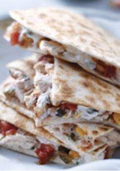 Chicken & Corn Quesadillas – Corn, salsa and tender strips of chicken give these quesadillas all the flavor and color you could desire—and all in a HEALTHY LIVING recipe.