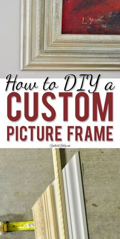 This tutorial for how to build a custom picture frame with baseboard and decorative trim moulding makes a great, ornate DIY frame for canvases. Includes ideas on how to paint the frame with a gold/antique look with spray paint. via Leslie at Lamberts Build A Picture Frame, Cute Picture Frames, Picture Frame Crafts, Build A Frame, Painted Picture Frames, Antique Picture Frames, Picture Frame Moulding, Diy Canvas Frame, Framing Canvas