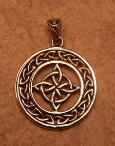 Celtic WITCHES Knot Pendant Gold tone Bronze encircled Quaternary 4 Point Knot