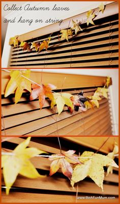 Leaves Garland - Collect and hang leaves on a piece of string. Autumn Leaves Craft, Autumn Crafts, Nature Crafts, Art For Kids, Crafts For Kids, Diy Crafts, Autumn Decorating, Fall Decor, October Crafts