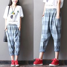 Stripe blue cotton linen trousers women trousers