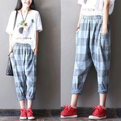 Stripe blue cotton linen trousers women trousers