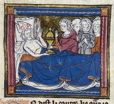 Detail of a miniature of Joseph of Arimathea on his deathbed, entrusting the Grail to Alain, (Part 1: Estoire del Saint Graal): France, N. (Saint-Omer or Tournai?), c. 1315-1325 (London, British Library, MS Royal 14 E. iii, f. 86r).