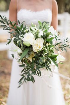 Organic, rustic white and green bouquet