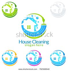 House Cleaning Vector Logo Design, Eco Friendly with shiny Home and circle Concept isolated on white Background Cleaning Logos, Cleaning Service Logo, Vector Logo Design, Clean House, Eco Friendly, Royalty Free Stock Photos, Concept, Illustration, Illustrations
