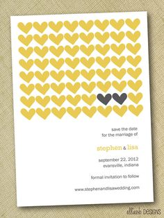 DIY save the date modern heart pattern custom by ellieohdesigns, $15.00