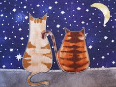 Quilted Fabric Postcard   Glowing Cat Tales by SonoranExpressions