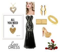 """""""Love is born  in the spring"""" by fatimka-becirovic ❤ liked on Polyvore featuring Christian Louboutin, Yves Saint Laurent, Hervé Van Der Straeten and lacedress"""