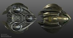 Fan art recreation of metroid prime gunship. Modeled 2013 in textured in MARI. This was done as an exercise to learn the UDIM and MARI workflow, and to texture a highpoly mesh. The mesh is using the double turbosmooth modifier workflow, Alien Spaceship, Spaceship Design, Spaceship Concept, Concept Ships, Concept Art, Aliens, Ship Map, Metroid Prime, Sci Fi Spaceships