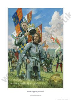 Henry Tudor is crowned on the battlefield at Bosworth, August 1485 [Graham Turner] Medieval Knight, Medieval Armor, Medieval Fantasy, Armadura Medieval, European History, British History, Tudor History, American History, Military Art