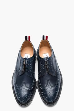 THOM BROWNE Navy leather Longwing brogues.