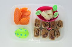 Bentobloggy - PB Sushi with cheese cubes and carrots!