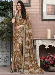 Brown Color Georgette Party Wear Sarees : Priyush Collection YF-64750 Floral Print Sarees, Printed Sarees, Floral Prints, Party Wear Sarees, Sari, Brown, How To Wear, Color, Collection