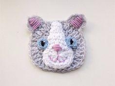 Cat Applique Crochet Applique Crochet Cat Gray Cat Sew on Chat Crochet, Crochet Kids Hats, Crochet Gifts, Knitted Hats, Appliques Au Crochet, Kids Winter Hats, Motifs Animal, Baby Afghan Crochet, Animal Hats