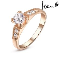 Italina Rigant 18K Real Rose Gold Plated Ring For Woman Made With Swarovski Crystal Stellux Hight Quality Zirconia #RG93663-in Rings from Je...