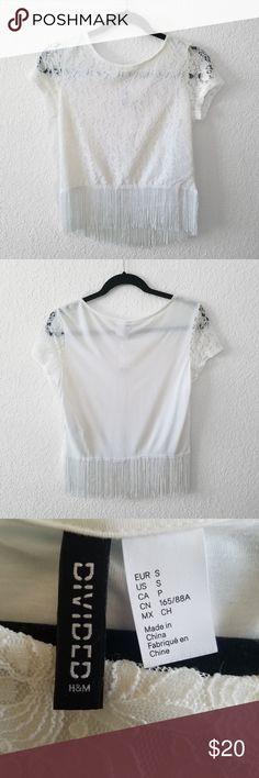 ea43a2d22a Divided Lace Fringe Crop Top White Divided H&M White lace crop top with  white