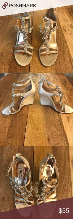 Badgley Mishka wedge heel Badgley Mishka wedge heel - champagne - embellished - size 7 Badgley Mischka Shoes Wedges
