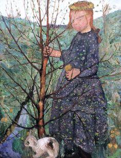 Paula Modersohn-Becker - Figurative Painting - German Expressionism - Bremen - Enfant avec un caniche. Child with a poodle. 1903.