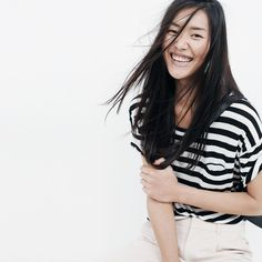 Liu Wen for Madewell #blackandwhite #stripes #fashion