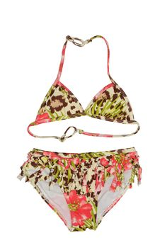 Kate Mack Girl's 7-16 Kitty Kahlo Bikini. Take a trip to the tropical jungle with this fun animal print bikini. With its macramé inspired fringe waist trim, she'll be a fashion sensation!
