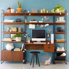 Watford walnut desk with shelves , walnut, La Redoute Interieurs   La Redoute