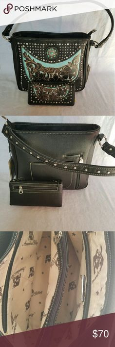 Black & Turquoise Studded Bag Studded with turquoise and silver drops.  Bag features two outside pockets (one for concealed carry or not) and several inside pockets.   Wallet features 2 outside pockets, an ID and cc slots as well as 4 longer cash pockets. Bags