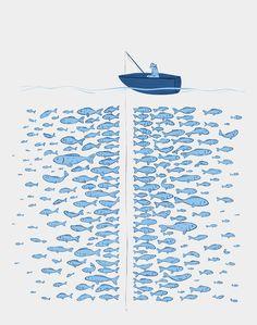 "Finicky fish: Art print by Elise Stella   (17"" x 20"", $28.00) #Illustration #fish #elise_stella"