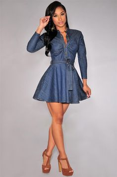 Sexy Womens Denim Belted Button-down Skater Mini Dress | You can find this at => http://feedproxy.google.com/~r/amazingoutfits/~3/pOzhRrWrlPI/photo.php