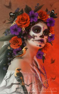 Day of the Dead, an art print by Tanya Varga This is a gallery-quality giclée art print on cotton rag archival paper, printed with archival inks. Day Of The Dead Artwork, Day Of The Dead Mask, Day Of The Dead Skull, Candy Skull Makeup, Candy Skulls, Candy Skull Costume, Arte Zombie, Mexico Day Of The Dead, Sugar Skull Art