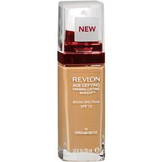 Revlon Age Defying Firming and Lifting Makeup, Medium Beige  Multi-benefit makeup that firms, lifts, covers, and hydrates skin  SPF 15  Contains hyaluronic acid, Revlon's exclusive Triple Lift Complex, and moisturizing ingredients  93% of women saw noticeably improved skin**  Available in 12 shades