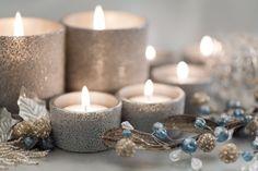 silber Winter Deko Idee Kerzen