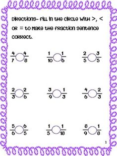 FREE Comparing Fractions Grades by Laura Love to Teach Comparing Fractions, Teaching Fractions, Fractions Worksheets, Math Fractions, Teaching Math, Maths, Teaching Ideas, Math Strategies, Math Resources