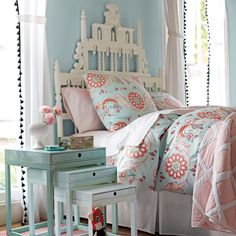 Blue and pink eclectic bedroom