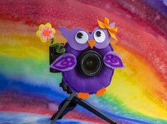 Photographer Helper Camera Lens Buddy  Purple Owl with