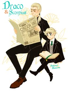 Dad Draco & Scorpius reading together gif