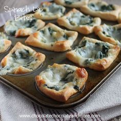 Spinach Dip Bites - Chocolate Chocolate and More!. ☀CQ #appetizers http://www.pinterest.com/CoronaQueen/appetizers-and-football/