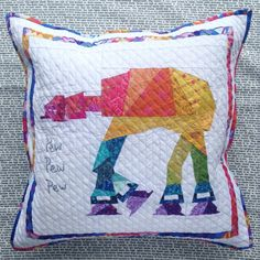 Rainbow At-At pillow ~ link to free paper piecing pattern