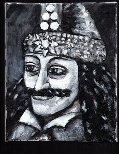 """""""VLAD THE IMPALER""""  original painting, 8""""x10"""" by jack larson   #Abstract"""