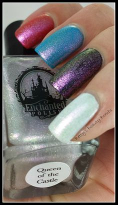 http://www.bettysbeautybombs.com/2014/05/19/enchanted-polish-castle-swatches/ / Enchanted Polish Queen of the Castle swatched over four different cremes