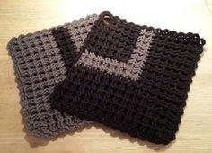 Vaffelhæklede grydelapper - crochet potholders