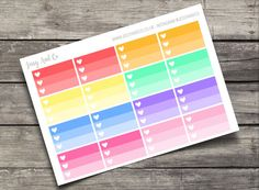 *Multi Colour Half Ombre Heart Checklist Stickers*  Stickers sized to fit Erin Condren Vertical. Sticker sheets measure approximately 7in x 5in.  Stickers are printed and kiss cut on high quality matte sticker paper.  *Check out the other listings in the shop for more colour schemes!*  Packages will be sent via Royal mail 1st class.  Follow us @Jessyandco on Instagram for info and pictures of new releases, giveaways, and discount codes!  Happy Planning!  Jessy And Co ©