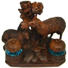 RARE Antique Black Forest Carved Double Inkwell, Inkstand: Two Sheep or Lamb Figures & Electric Blue Glass Wells Black Forest Wood, Hand Carved, Carved Wood, Wood Carvings, How To Antique Wood, Wax Seals, Electric Blue, Rare Antique, Antique Furniture
