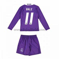 Billige Fodboldsæt Real Madrid Børn 2016-17 Bale 11 Langærmet Udebanesæt