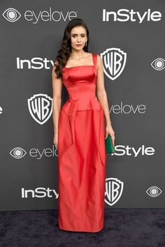 Nina Dobrev looks amazing in red! (Kind of reminds me of Selena's AMA gown. :P)
